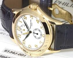 46. 百達翡麗(patek philippe) | 5134j型號黃金兩地時間腕錶備24小時顯示,2003年製。