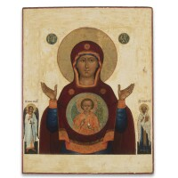 25. a russian icon of the mother of god of the sign, circa 1800