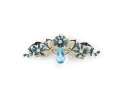 14. aquamarine, enamel and diamond brooch, henri dubret, circa 1910