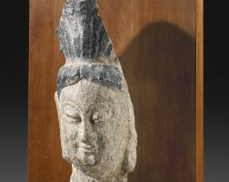 14. a sandstone head northern wei, possibly yungang