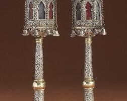 10. a pair of moroccan parcel-gilt silver torah finials, 19th century |