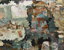 12. attributed to cosimo castrucci (active 1576-1602)bohemian, prague, 1590-1619 | pietre dure panel with a mountainside town with a harbour
