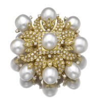 6. cultured pearl and diamond brooch