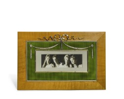 341. a fabergé silver-gilt, enamel and wood frame, workmaster johan victor aarne, st petersburg, 1899-1904