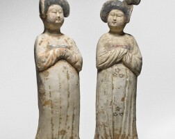 8. a pair of painted pottery figures of ladies tang dynasty