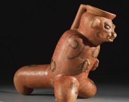 10. costa rican effigy vessel, guanacaste-nicoya region, rosales incised bichrome, late period iv, ca. 500 b.c.- a.d. 500