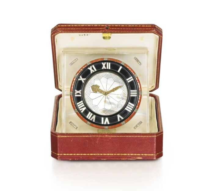Rock crystal, onyx, coral, mother-of-pearl and diamond desk clock, Cartier, 1930s and later. LOT SOLD. EUR 21,250