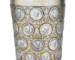 248. a large germanparcel-giltsilverbeaker insert with coins, johann christian lieberkühn, berlin, circa 1700   a large germanparcel-giltsilverbeaker insert with coins, johann christian lieberkühn, berlin, circa 1700
