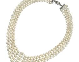 1855. 天然珍珠配鑽石項鏈