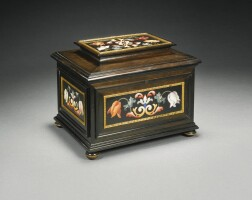 10. an italian pietre dure mountedebony casket, florentine, grand ducal workshop late 17th/early 18th century