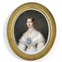 157. an oval miniatureon porcelain ofbaronness roger byaimée perlet (circa 1798-after 1854), dated 1841 | an oval miniatureon porcelain ofbaronness roger byaimée perlet (circa 1798-after 1854), dated 1841