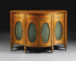 310. a george iii satinwood and amaranth inlaid serpentine side cabinet circa 1780