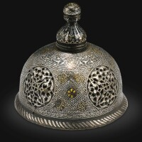 1. an ayyubid gold and silver-inlaid cast-brass incense burner cover, jazira, probably mosul, early 13th century
