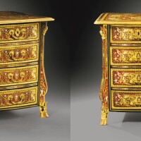 45. a pair of louis xiv gilt-bronze mounted boulle tortoiseshell, brass, mother-of-pearl and tin marquetry commodes, attributed to nicolas sageot, circa 1700  