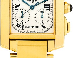 3. cartier | tank française, reference 1830a yellow gold chronograph bracelet watch with date, circa 2005