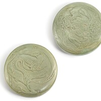 309. two yue celadon boxes and covers five dynasties – song dynasty |