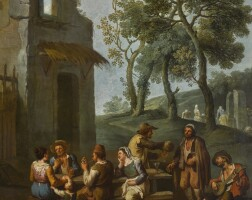 205. paolo monaldi | a landscape with peasants sitting and drinking by a ruined house