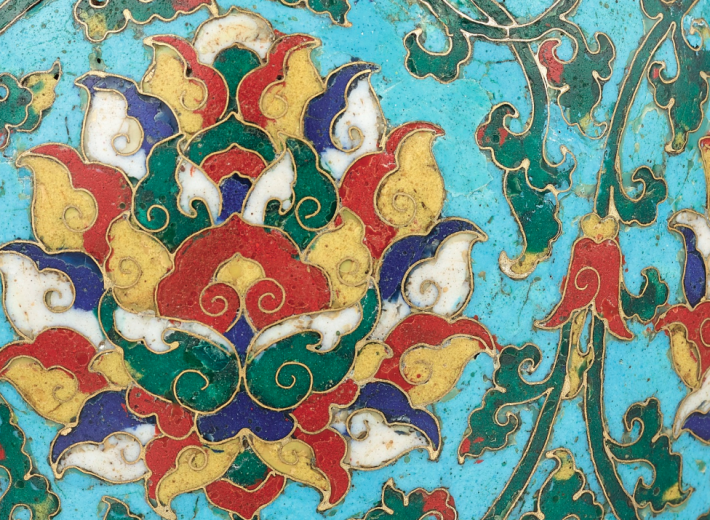 Chinese cloisonne enamel vase in an auction selling chinese antiques