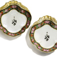 310. a pair of chinese export armorial shell-form dishes, qing dynasty, jiaqing period, circa 1815 |