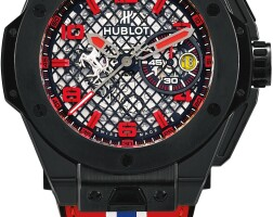 117. hublot   big bang ferrari, reference 401.cx.1123.vr a limited edition blackened titanium and ceramic semi-skeletonised chronograph wristwatch with date, circa 2015