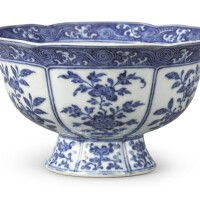 526. a ming-style blue and white lobed 'sanduo' stem bowl yongzheng mark and period |