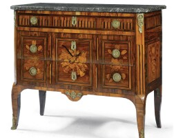 55. a rosewood and marquetry commode, indistinctly signed jme j*lapie louis xv/louis xvi transitional, last quarter 18th century