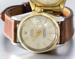 8. 勞力士(rolex) | 零售商為tiffany & co.:16013型號「datejust」黃金及精鋼自動上鏈腕錶備日期顯示,年份約1984。