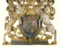 4. a large pierced and carved relief depicting the royal arms coat of arms first half 18th century