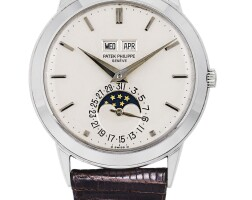224. 百達翡麗(patek philippe) | 3448型號白金萬年曆腕錶備月相顯示,1977年製。