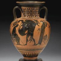 7. an attic black-figured neck amphora, attributed to the workshop of the antimenes painter, circa 510 b.c. | an attic black-figured neck amphora, attributed to the workshop of the antimenes painter