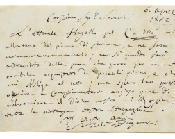 195. paganini, nicolò. extraordinary autograph letter signed, to severini