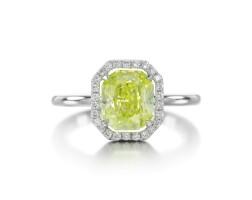 139. fancy intense green-yellow diamond and diamond ring