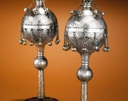 11. a pair of georgian silver large torah finials, assay master igor blomberg, tiflis, 1880 |