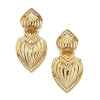 44. pair of gold, citrine and diamond earclips