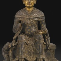 412. a wood figure of the attendant dharmata tibet, 17th / 18th century