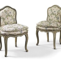 1004. a pair of louis xv blue- and gray-painted chaisesà la reine, circa 1750