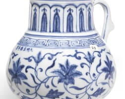 22. a rare blue and white tankard mark and period of xuande