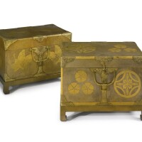 38. a near pair of japanese gilt lacquer chests meiji period