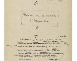 20. cocteau. — [stravinsky]. mes souvenirs 1924-1927. manuscrit autographe. 27 p. reliure de paul bonet, 1946