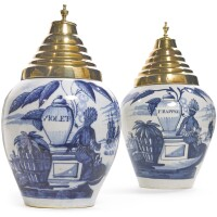 26. two dutch delft blue and white tobacco jars and brass covers, 18th century