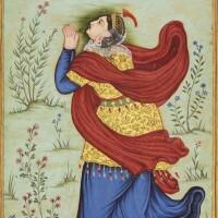 1. aeuropean lady worshipping the sun,ascribed to madhu, mughal, circa 1595