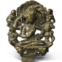 906. a copper alloy plaque with silver inlay depicting vajrasattva kashmir or swat valley, 8th/9th century  