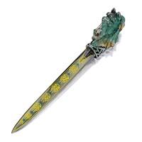 1644. emerald and gem-set 'horse' letter opener