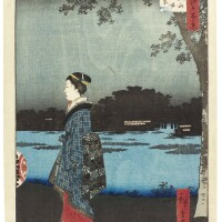 6. utagawa hiroshige i (1797–1858)night view of matsuchiyama and the san'ya canal (matsuchiyama san'yabori yakei) edo period, 19th century | night view of matsuchiyama and the san'ya canal (matsuchiyama san'yabori yakei), from the series one hundred famous views of edo (meisho edo hyakkei), edo period, circa 1857