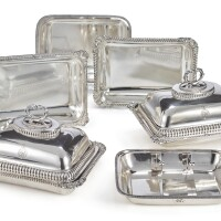 347. three pairs of george iv sheffield plated entree dishes and a pair of associated covers, circa 1820 |