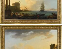 65. 克勞德‧約瑟夫‧維爾內 | 《晨景:地中海港口與撒網的漁民》;《暮景:地中海港口的漁民與漁獲》