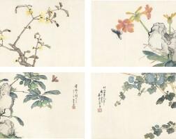 1244. 居廉 花卉草蟲 | 設色紙本 鏡框 四幅 一九○○年作