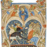 4. martyrdom of a saint, historiated initial from a choirbook, in latin [italy, umbria, c.1300]