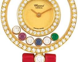 166. chopard   happy diamonds, reference 20/3957-24 a yellow gold, diamond and gem-set wristwatch, circa 1990