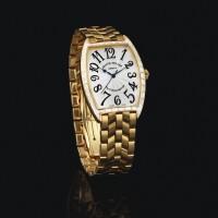 2025. franck muller | yellow gold and diamond-set wristwatch with braceletref 2852 sc bag no 08 cinrree curvex circa 1999